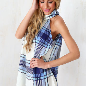 Blue Cheque Playsuit | SABO SKIRT