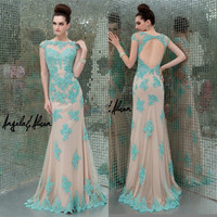 2014 Sexy Backless Evening Dresses Fashion Applique Tulle Party Formal Prom Gown