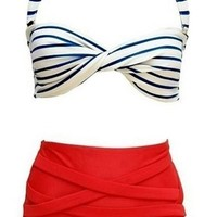 Cocoship Retro Polka Stripe Bow Vintage High Waisted 2 Pieces Bikini Swimsuit(FBA)