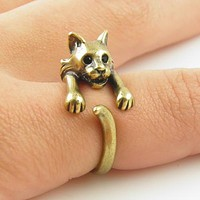 Animal Wrap Ring - Bobcat - Yellow Bronze - Adjustable Ring - keja jewelry