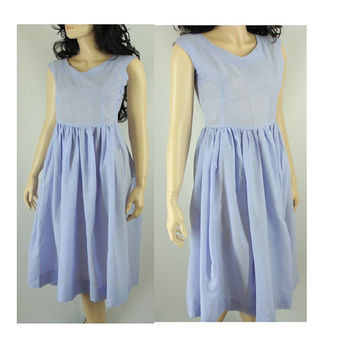 Fifties Thin Cotton Lavender Dress, Fit and Flare 50s Dress, Small