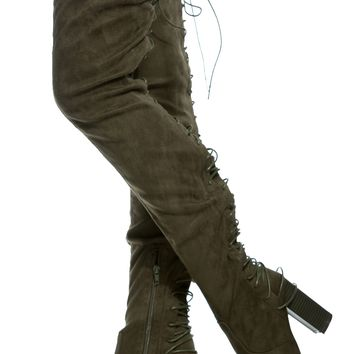 Olive Faux Suede Rear Lace Up Chunky Thigh High Boots @ Cicihot Boots Catalog:women's winter boots,leather thigh high boots,black platform knee high boots,over the knee boots,Go Go boots,cowgirl boots,gladiator boots,womens dress boots,skirt boots.