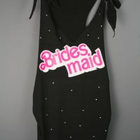 Bride Shirt - Barbie Bridesmaid Rhinestone Black Racerback