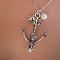 READY TO SHIP Katniss Bow and Arrow Necklace - Hunger Games Inspired - Sterling Silver - Nickel Free, Hypoallergenic Jewelry