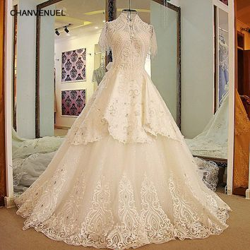 LS24770 Latest Long Train Wedding Dresses High Neck Bling Beaded Rhinestone Ball Gown Short Sleeves Wedding Gowns Ivory