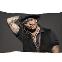 "New Johnny Depp Zippered Pillow Case 16""x 24"" - 2 sides Cushion Cover"