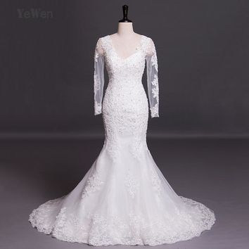V-neck beach long sleeves mermaid wedding dress 2017 lace high quality plus size vestidos de noiva sexy african wedding gowns