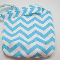Aqua Chevron Bag Small Chevron Tote Slouchy Bag by moxiebscloset