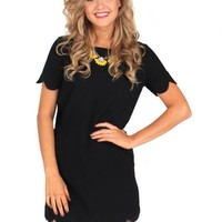 It Girl Black Scallop Dress | Monday Dress Boutique
