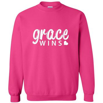 Grace Wins Christian Crewneck Unisex Sweatshirt