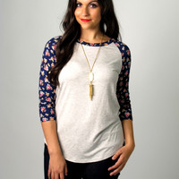 Kris Baseball Tee with Floral Sleeves: Gray