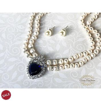 Princess Diana Inspired Blue Sapphire CZ Crystal Pearl Jewelry Set