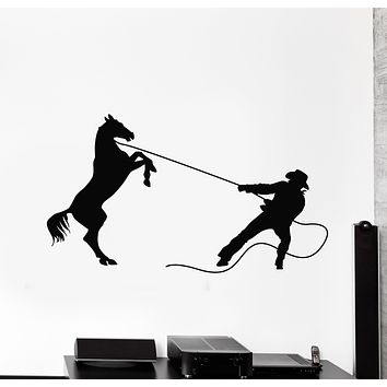 Vinyl Wall Decal Rodeo Cowboy Rider Lasso Horse Western Home Stickers Mural (g806)