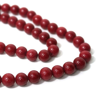 Mountain Jade 8mm Round Strawberry Red, Full Strand, 871S