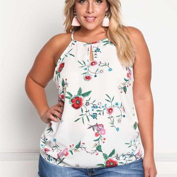 Plus Size Clothing | Plus Size Floral Ruched Tank Top | Debshops
