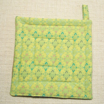 Green Abstract Designer Fabric Pot Holder, Trivet, Hot Pad, Insulated and Quilted, Made in the USA