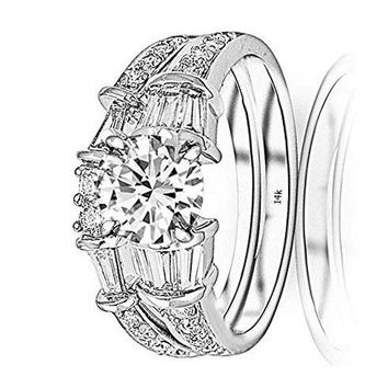 c.1.75 Carat 14K White Gold Baguette Round GIA Certified Round Cut Diamond Engagement Ring Wedding Bridal Band Set (1 Ct D Color VS1 Clarity Center Stone)