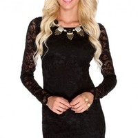 Black Lace Long Sleeve Sexy Cocktail Dress