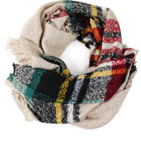 Pleasantly Plaid Blanket Scarf in Cream