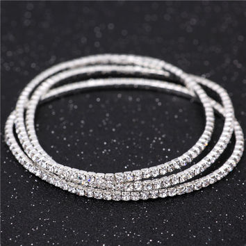 925 Stering Silver Slim Cluster Prong Setting CZ Tennis Link Chain Thin Bracelet Bangle Fashion Women Girls Jewelry JB3132S