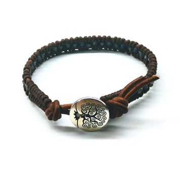 Brown Grey Leather Wrap Seed Bead Button Bracelet
