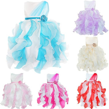 Fashion Fancy Ruffles Flower Girl's Kid's Wedding Party Pageant Dresses Ball Gowns Dress = 1931644036