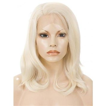 Shoulder Length Ash blonde Bob Synthetic Lace Front Wig