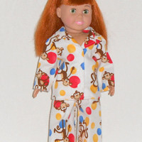 American Girl Doll Clothes Pajamas White Flannel Monkeys