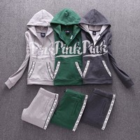 Victoria's Secret PINK Casual Print Hoodie Top Sweater Pants Trousers Set Two-piece Sportswear