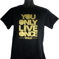 New Yolo You Only Live Once Take Care OVO Y.O.L.O Drake T-Shirt Tee (Large)