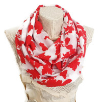Valentines Day Gifts, Red Floral Cowl Infinity Scarf Flowers Lightweight