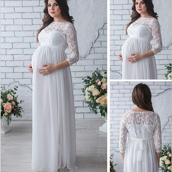OkayMom Maternity Dress For Photo Shoot Pregnancy Wear White Long Lace Evening Party Dresses Clothing Maternity Photograph Props