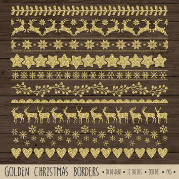 SALE - 50% OFF. Gold Christmas Clip Art. Gold Glitter Digital Ribbon Clipart. Gold Glitter Christmas Borders. Snowflake, Reindeer Clipart.