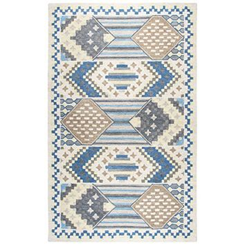 ZI025B Zingaro Hand-Tufted Area Rug, Blue, 5' x 8' By Rizzy Home