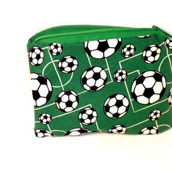 Soccer change purse green football zipper by redmorningstudios