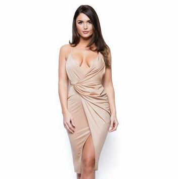 Luxury V-neck One Piece Dress [7976013825]
