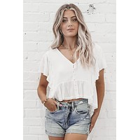 Ruffle It Or Leave It V Neck Top