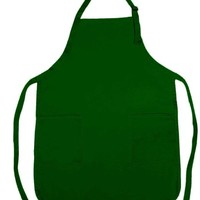 Apron Commercial Restaurant Home Bib Spun Poly Cotton Kitchen Aprons (2 Pockets) in Dark Green
