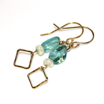 Apatite Earrings Aqua Earrings Geometric Earrings Apatite Jewelry Summer Earrings Geometric Jewelry Square Earrings Modern Earrings Opals