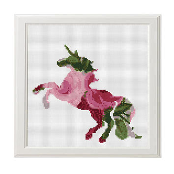 Unicorn Cross Stitch Pattern, Floral Unicorn Flowers Silhouette Counted Cross Stitch, Unicorn Animal Modern Home Decor Nursery