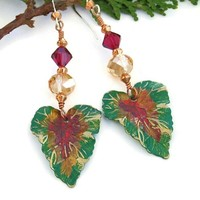 Green Coral Brass Leaf Handmade Earrings Czech Glass Swarovski Jewelry