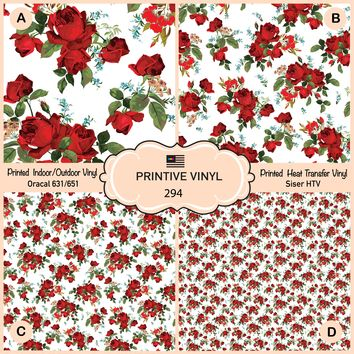 Vintage Rose In white background Printed Vinyl/Siser HTV/ Oracal/ Indoor Vinyl/ Outdoor Vinyl/ Heat Transfer Vinyl-294