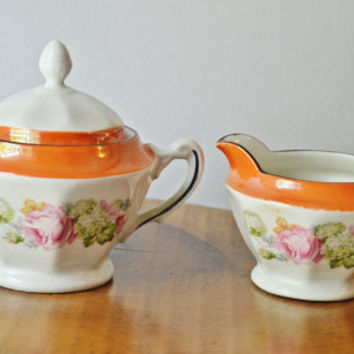 Cream And Sugar, Made In Germany, Rose Pattern