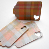Choose your Color Twine - Plaid Design, Baby Shower, Wedding, Rustic Gift Tags, Cottage Chic Gift Tags. Set of 16 - Heart cut tags