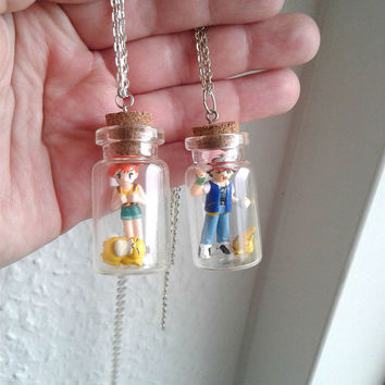 Pokémon Necklaces - Ash & PIKACHU, Misty and Psyduck - Toys in a Bottle - Pokemon Go, Team Valor Team Mystic, Team Instinct