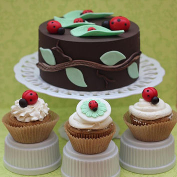 30-Piece Party Package Ladybug-Themed Fondant Cake Set - Cake Topper, Cupcake Toppers, Leaves, Twigs