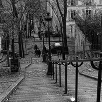 Paris Montmartre Staircase in Black and White Fine Art Photography Print