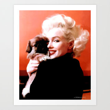 Marilyn Monroe and Pekingese Portrait Art Print by Gabriel T Toro