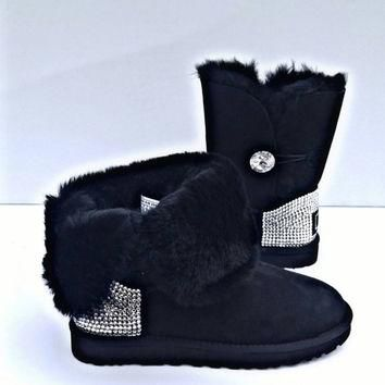 Free Shipping!, UGG boots, Swarovski button UGGS, Womens Uggs, Blinged out UGG boots,
