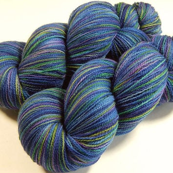 Hand Dyed Yarn - Lace Weight Superwash Merino Wool Yarn - Ink Multi - Knitting Yarn, Lace Yarn, Wool Yarn, Blue Green Purple